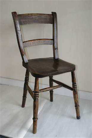 Set of four Victorian kitchen chairs wit