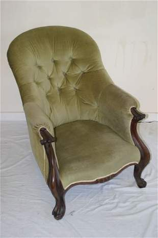 Early 19c upholstered spoon back chair i