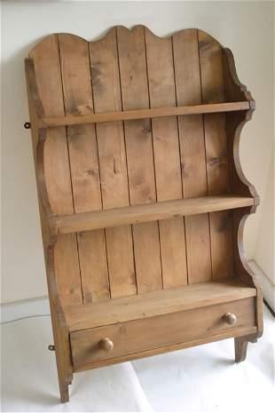 Pine wall shelves with single drawer