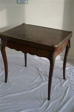 18c style kingwood card table with fold