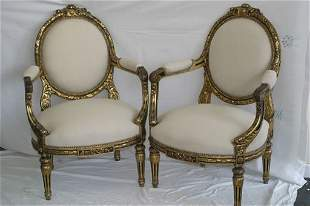 Pair of superb carved giltwood 19c open
