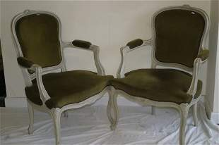 Pair of painted Louis XV style open armc