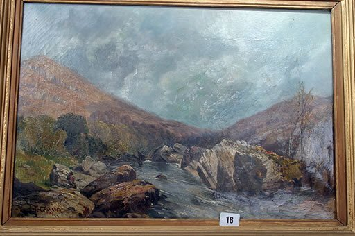 2016: Framed oil by Thomas Creswick 'Fisherma