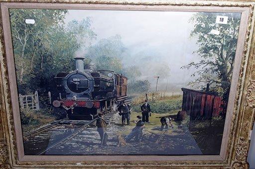 2018: Framed railway print of steam engine 20