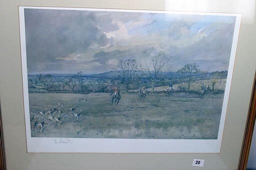 2020: Large framed hunting print signed by Li