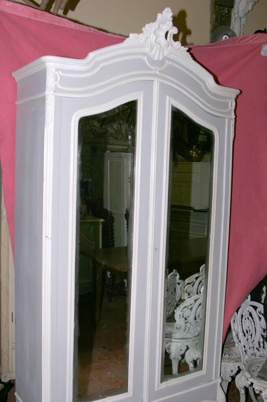 3021: 19c Louis XV style bevelled mirrored door armoire