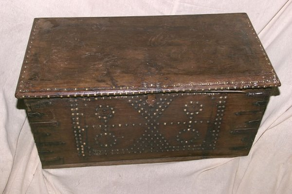 3023: 19c teak and brass studded blanket box