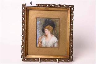 1004: Gilt framed oil on ivory of Victorian lady, signe