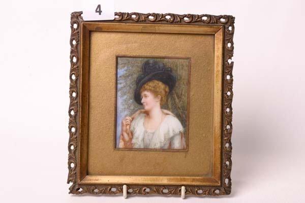 1004: Gilt framed oil on ivory of Victorian lady, signe