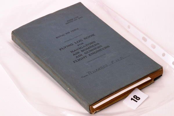 1018: WW2 RAF flying log book for Sgt. Rickards, listin