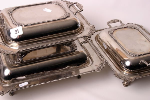 1021: Set of three Victorian silver plated entree dishe