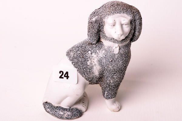 1024: Victorian Staffordshire seated poodle (unpainted)