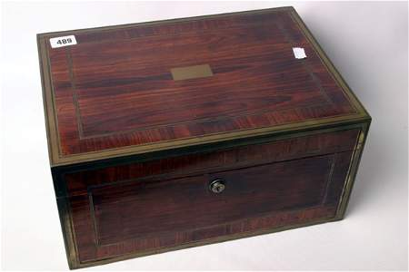 1489: 19c Coramandel brass bound box with fitted handle