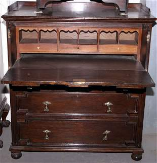 Jacobean oak secretaire chest with fitted interio