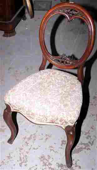 Victorian oval balloon backed chair with cabriole