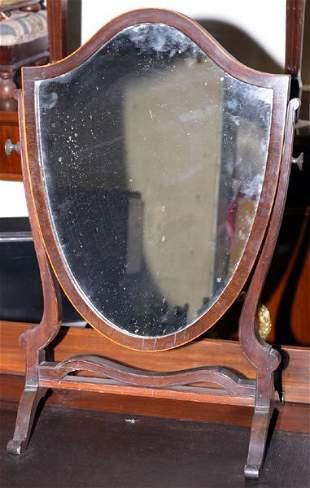 Sheraton style shield backed dressing table mirro