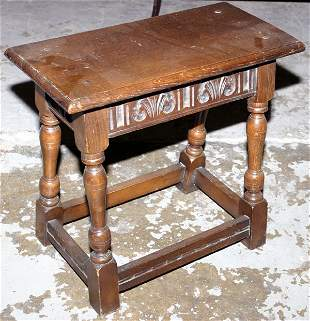 Oak jointed stool with turned legs on cross stret