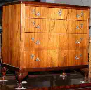 1930s walnut veneered chest of drawers on cabriol