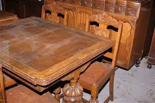 1930s oak dining room suite, drawer leaf table wi