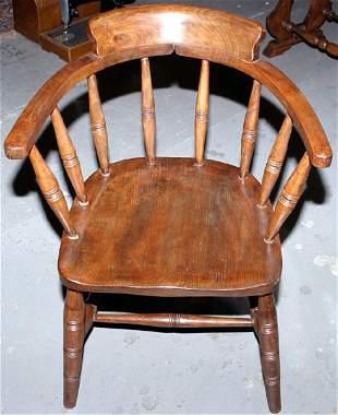 """Oak captains chair with elm seat, 32x18x18"""""""