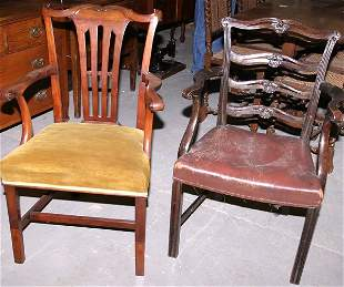 """Two Chippendale style open armchairs, 37x23x22"""""""