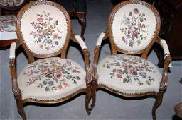 2082: Pair of Louis XV style open armchairs with good u