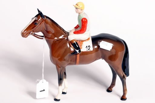 1001: Beswick horse and jockey by A. Gredington, brown