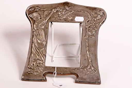 1004: Silver hall marked Art Nouveau photo frame 10x8""