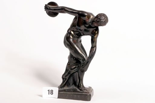 1018: Bronzed spelter figure of discus thrower