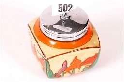 1502: Clarice Cliff 'Fantasque' lidded pot c1930