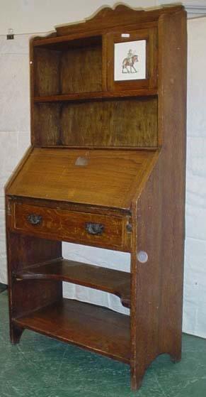 """1603: Oak student bureau bookcase 62x30"""""""