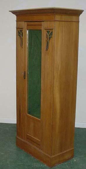 1604: Satin walnut mirrored hall cupboard, c 1900  75x3