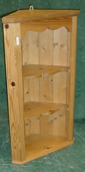 """1609: Contemporary pine corner shelf unit 33x20"""""""
