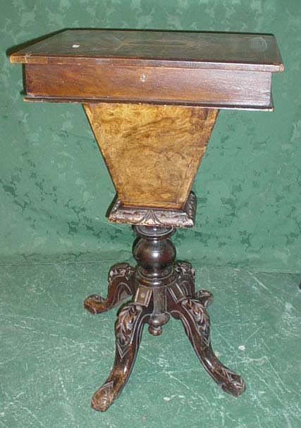 1615: Late Victorian walnut and mahogany sewing table w