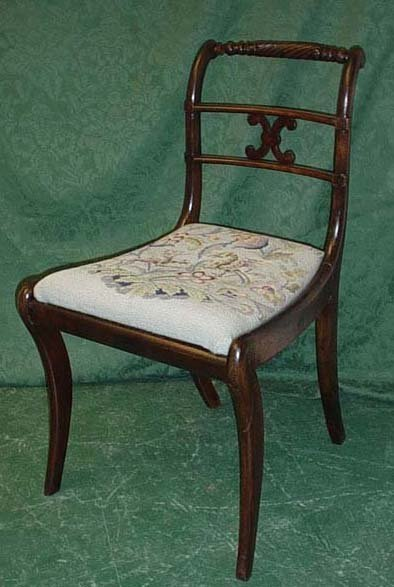 1620: Regency rope back sabre leg single chair with dro
