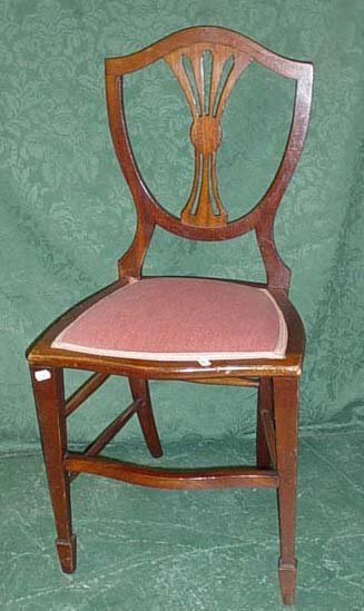 1622: Late Victorian shield back mahogany bedroom chair