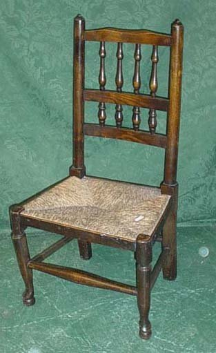 1623: Superb 19c Lancaster child's chair with spindle b