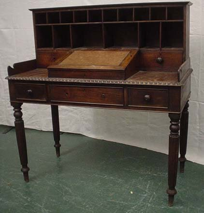 1647: 19c clerks table with gradoon edge and fluted leg
