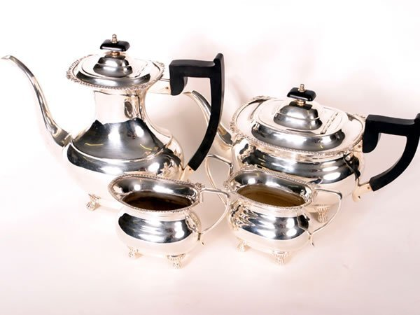 1003: Good quality silver plated tea set comprising of