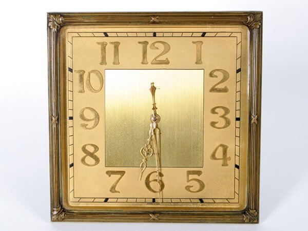 1005: Square faced brass mounted 8 day clock with Swiss