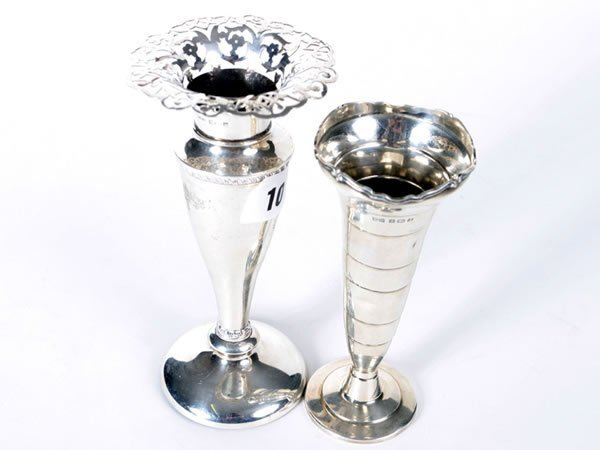 1010: Two glass spil vases with silver rims