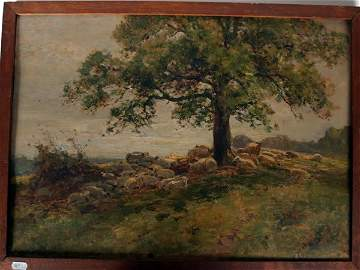1011: Framed oil on card of sheep beneath a tree, signe