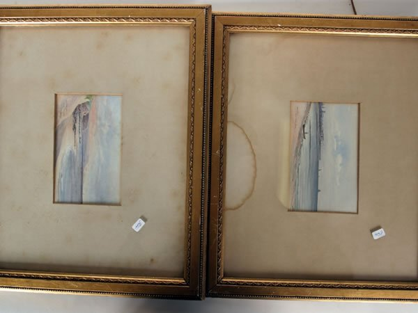 1012: Two small framed watercolours, Hartlepool from Se