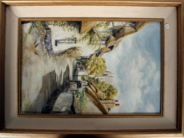 1013: Framed oil on board of Devon cottages by C Bennet