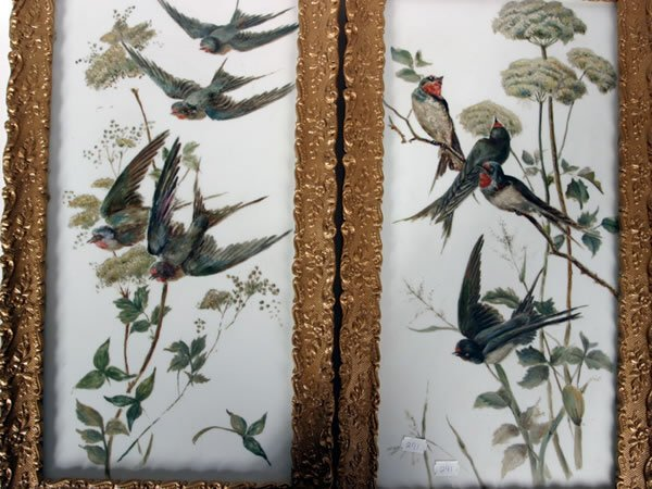 1014: Pair of painted on glass pictures of swallows in