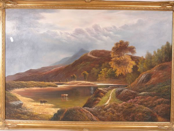 1015: Large contemporary landscape picture in gilded fr