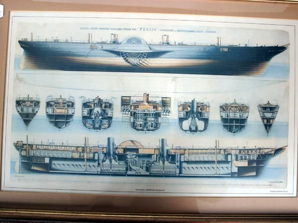1016: Framed and glazed print of the steamship 'Persia