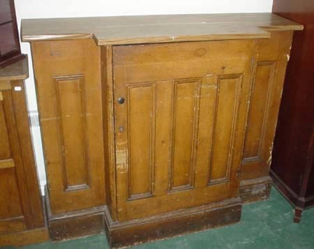 "1891: Scumbled pine breakfront panelled cupboard 53"" w"
