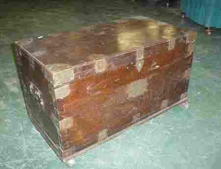 1984: A camphor wood brass bound campaign trunk bears p
