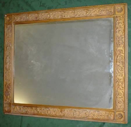 11017: rectangular moulded frame wall mirror together w